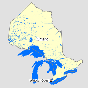 Carte : Ontario Windsor Ouest